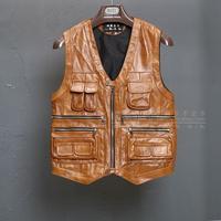 2019 men head import thick leather skin horse fashion quality more pocket v neck vests