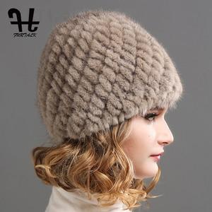 Image 3 - FURTALK ミンクの毛皮の帽子帽子女性の冬のニット毛皮の帽子ロシア女性の高級ブランドの自然毛皮キャップ冬帽子女性 2020