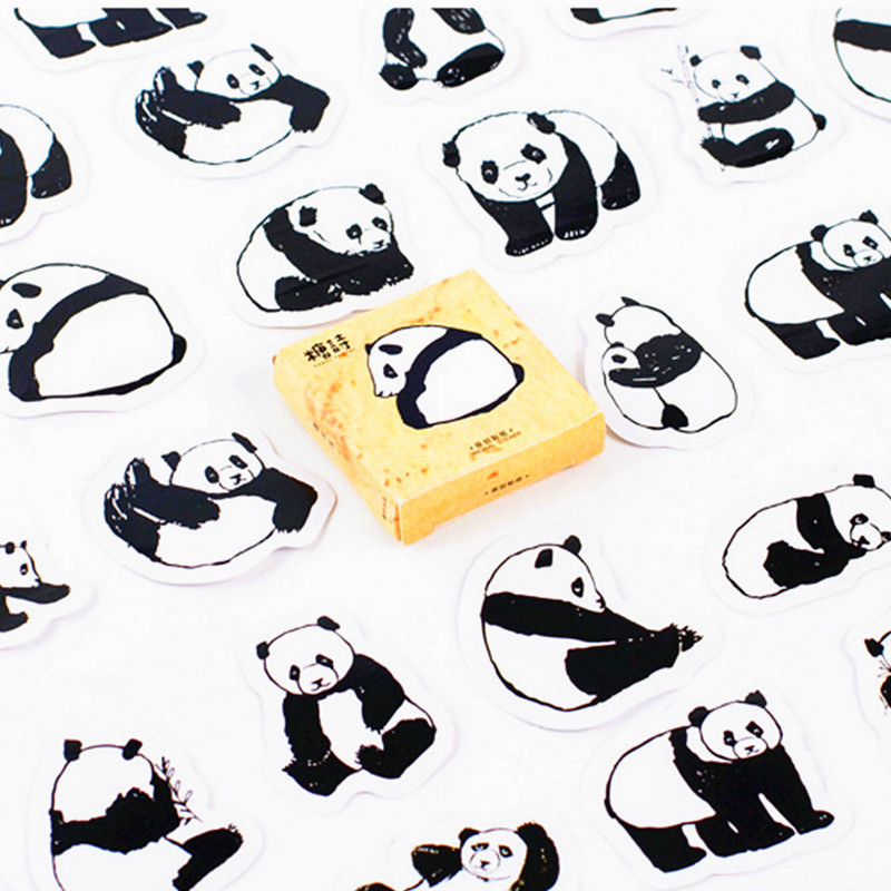 40pcs Black And White Chinese Pandas Memo Stickers Pack Posted It Kawaii Planner Scrapbooking Stationery Escolar School Supplies