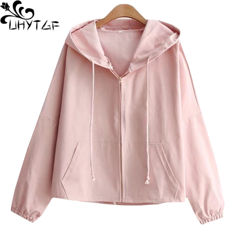 UHYTGF Womens   Basic     Jackets   fashion Zipper Casual Long Sleeves short Coats Small fresh hooded student spring autumn   jacket   681
