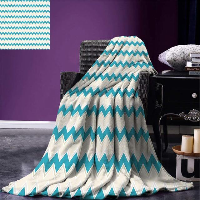 teal throw blanket horizontal zigzag lines chevron triangles pattern