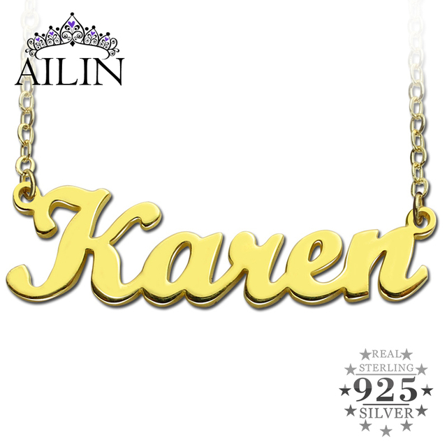 Freeshipping--Karen Style Name Necklace Gold Plated Over Copper Initials Personalized Jewelry Customized Christmas Gift