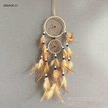 Винтажное украшение для дома, ретро перо, Ловец снов, круглые перья, Настенный декор для автомобиля