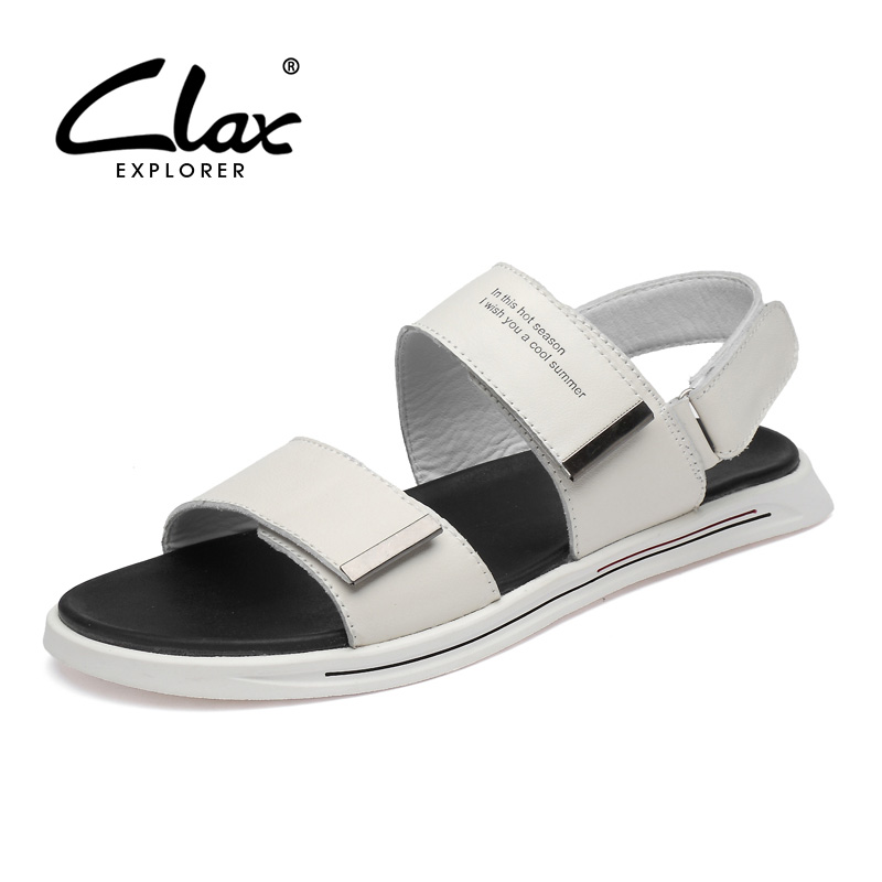 CLAX Mans Leather Sandals 2019 Summer Men's Casual Shoes Breathable White Sandal Male Walking Footwear