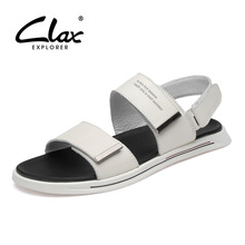CLAX Mans Leather Sandals 2019 Summer Mens Casual Shoes Breathable White sandal Male Walking Footwear