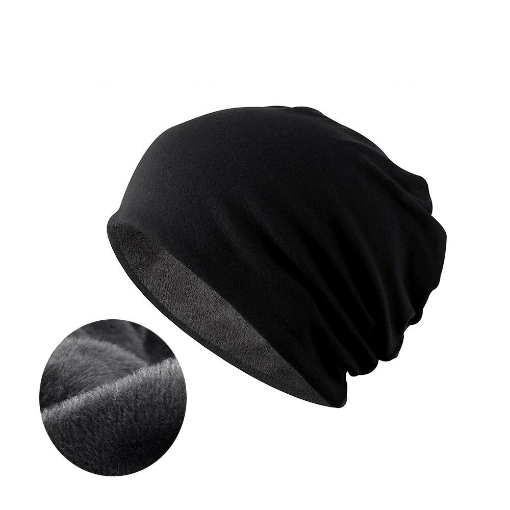 NUZADA Brand Solid Color Warm Hat Plus Fluff Cap Men Women Bonnet   Skullies     Beanies   Knitted Hats Double Layer Fabric Winter Caps