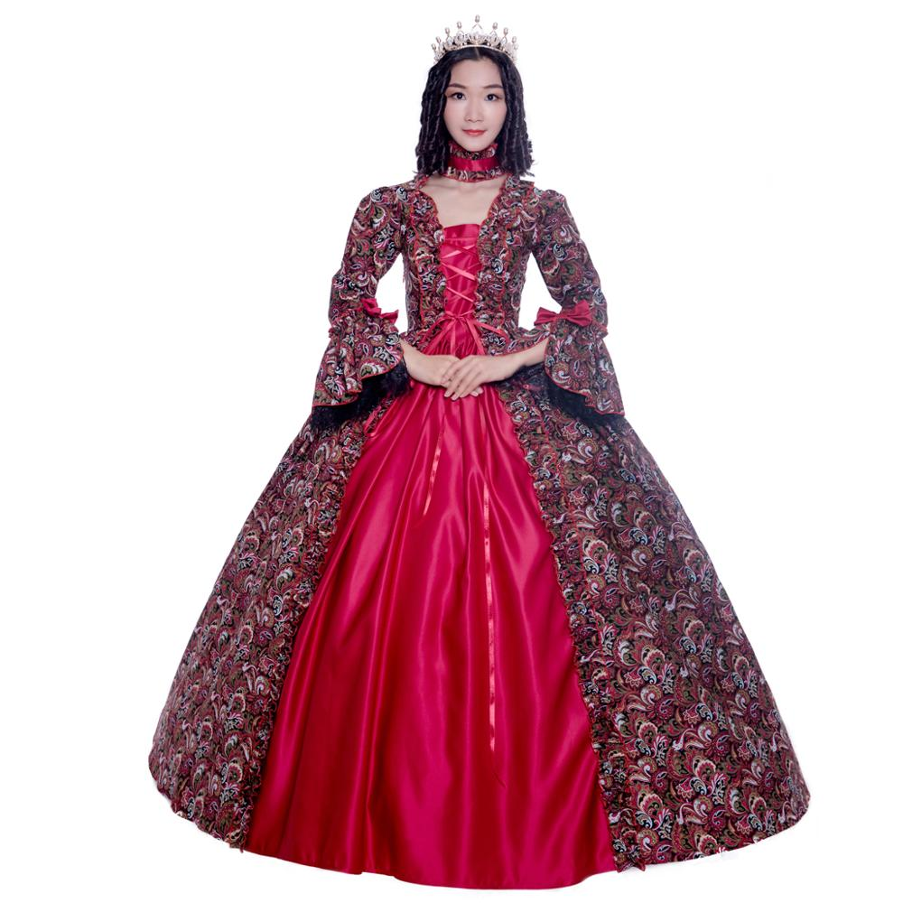 Us 5984 32 Offgothic Red Printing Long Sleeves 18th Century Historical Stage Costume Ball Gown Halloweenchristmas Party Dress In Dresses From