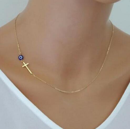 Women Sideways Gold Simple Cross Pendant Necklace Eyes Skinny Cross Celebrity Inspired Chain Necklace Bijoux Collar Jewelry