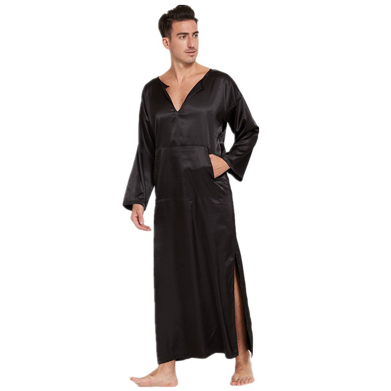 Sleepwear Robe Summer Gown Nightwear Kimono Satin Home-Clothes Silky Mens NEW Solid One-Size gown