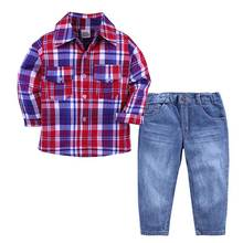 Elvesnest Kids Boys Clothes Suits Spring Casual Boy Clothing Sets Cotton Long Sleeve Plaid Shirt+Long Jeans Children Costume casual summer gentleman style kids boys clothing sets cotton sling strap costume shirt short jeans boys clothes suits
