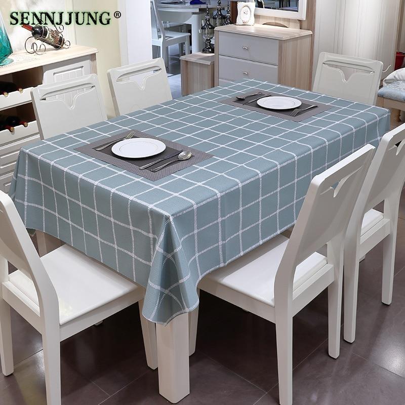 Plaid Waterproof Wipe Clean PVC Vinyl Table Cloth Oilproof