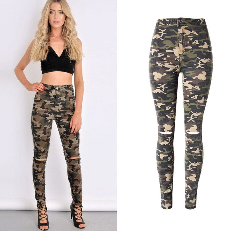 Hot Sexy High Waist Camouflage Pattern Jeans For Female Feminino Clothes European Country Military Denim Pants