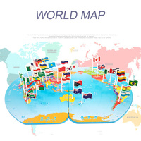 Wooden World Map Plastic Flags Stereo Toy Puzzle Broaden Kid S Horizon Early Education Gift Toys