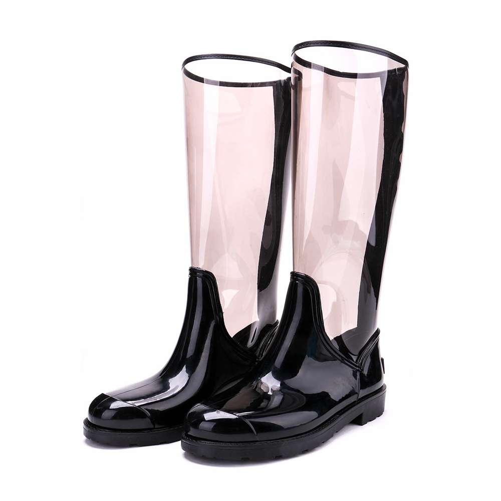TONGPU Sharon Womens Rain Boots Transparent New Design ECO-PVC Back Zipper 154-551