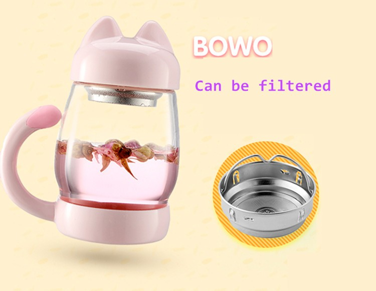 Cute Cat Glass Coffee Tea Mug With Filter