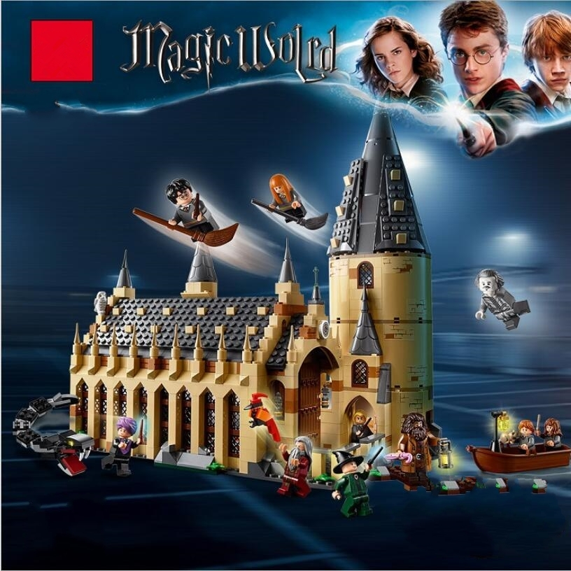 Harri Potter series Hogwarts Great Hall 983pcs Building Blocks Brick Educational Toys Compatible Legoing 75954 75952 75953