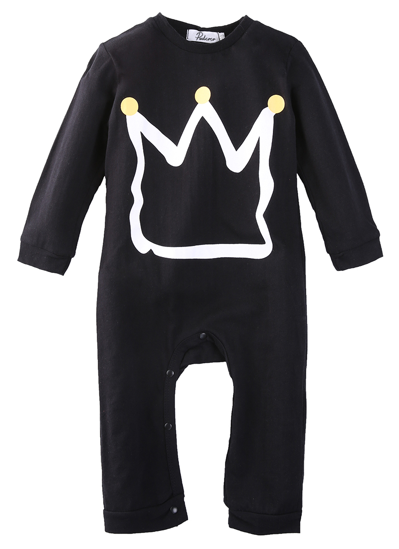 2017 New Fashion Newborn Toddler baby rompers black Short sleeve Cartoon Crown jumpsuit infant clothing baby boy girl clothes 2016 newborn baby rompers cute minnie cartoon 100% cotton baby romper short sleeve infant jumpsuit boy girl baby clothing