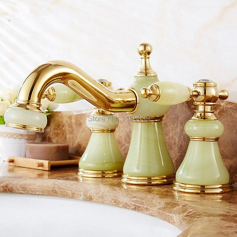 Natural Jade Three-hole Bathroom Basin Faucet,widespread Bathroom Faucet,bathroom Split Body Dual Handle Gold Basin Tap,J16957