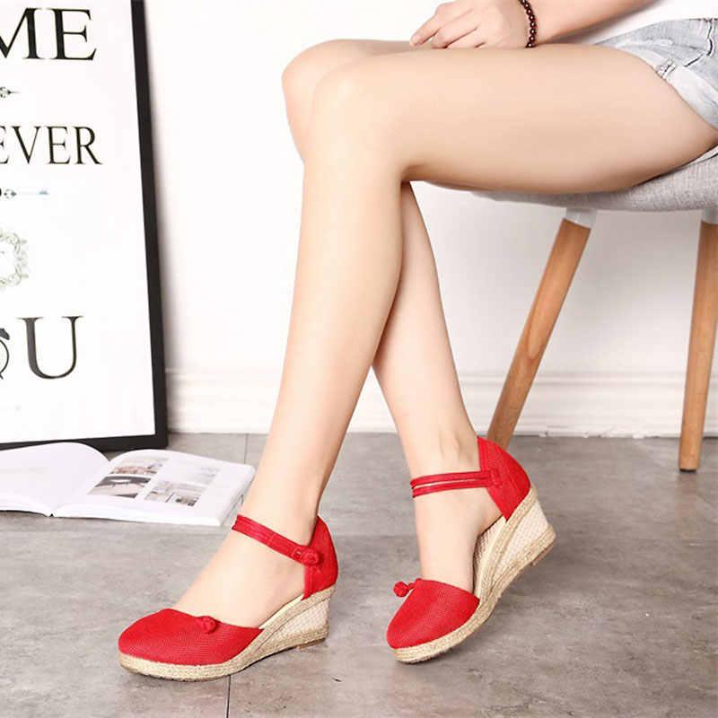 Kadın sandalet rahat keten tuval kama sandalet yaz ayak bileği kayışı Med topuk platformu pompa Espadrilles kadın ayakkabı