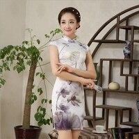 Bayan Saten kısa Cheongsam Ipek Qipao Geleneksel Çin Elbise Artı Boyutu M L XL XXL JS-MSF-0004