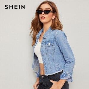 Image 4 - SHEIN Blauw Verzwakte Edge Flap Pocket Lente Denim Jas Jas Vrouwen 2019 Herfst Streetwear Single Breasted Dames Casual Jassen