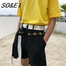 SOEI Punk Fashionable Belts Women Men Belt Original Design Chinese Text Embroidery Belts For Women Men Off White Color Belt Men fashionable color block and leaf pattern design satchel for women