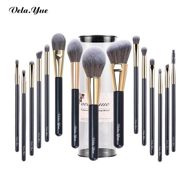 Set de brochas de maquillaje vela.yue, brocha de maquillaje sintética de viaje sin crueldad, Kit de herramientas de belleza, brocha de maquillaje en polvo, sombra de ojos de base, 15/4 Uds.