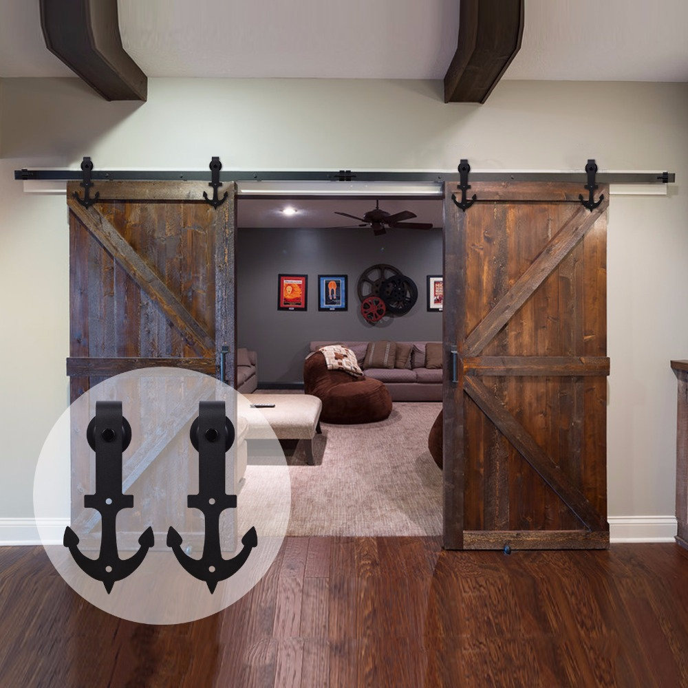 LWZH Country/Anquti Style Black Carbon Steel Sliding Barn Door Anchor Shaped Track Roller Barn Door Hardware Kit For Double Door