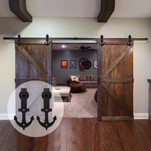 LWZH Country/Anquti Style Black Carbon Steel Sliding Barn Door Anchor Shaped Track Roller Hardware Kit for Double