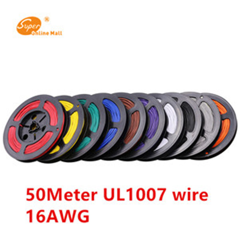 50 M/lote 164ft Cabo ul1007 16 AWG Fio de Cobre Fio de Fios Elétricos e Cabos de Equipamentos DIY 26/0. 25 TST OD 2.4mm