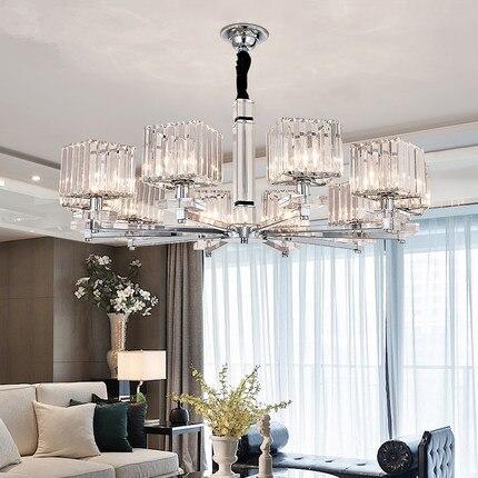 Modern Led Chandeliers Lighting Chrome Metal Living Room Led Pendant Chandelier Lights Glass Dining Room Hanging Light Fixtures|Pendant Lights|   - title=