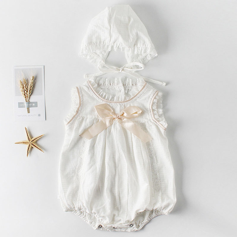 Summer Cute Baby Girl Ruffle Solid Color Romper+Hat Babys Bow-Tied Romper Baby Cotton Sleeveless Jumpsuit Children ClothesSummer Cute Baby Girl Ruffle Solid Color Romper+Hat Babys Bow-Tied Romper Baby Cotton Sleeveless Jumpsuit Children Clothes