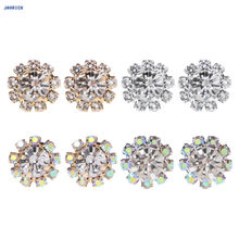 JAVRICK 1 Pair 10-Stones Round Cubic Zirconia Flower Shape Stud Earrings Trendy Jewelry(China)