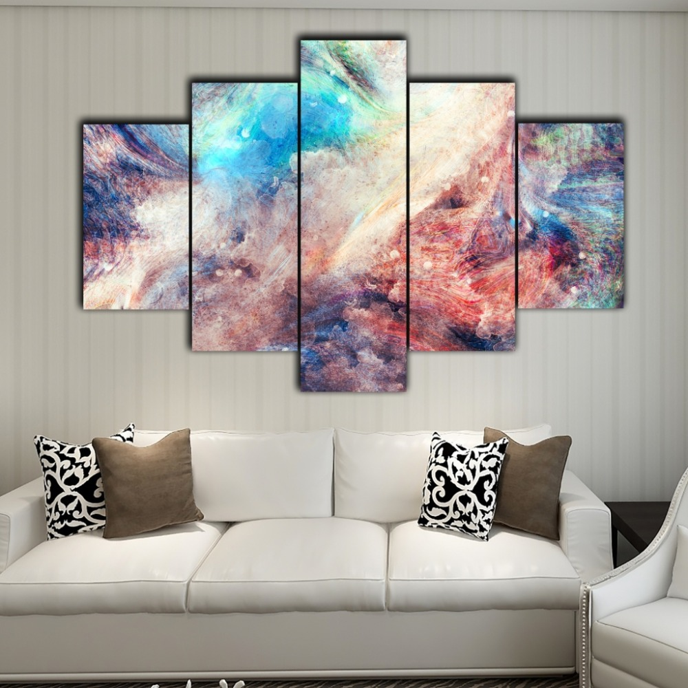 Living Room Digital Art: Free Mail 5 Pieces Of Abstract Art Canvas Home Decoration