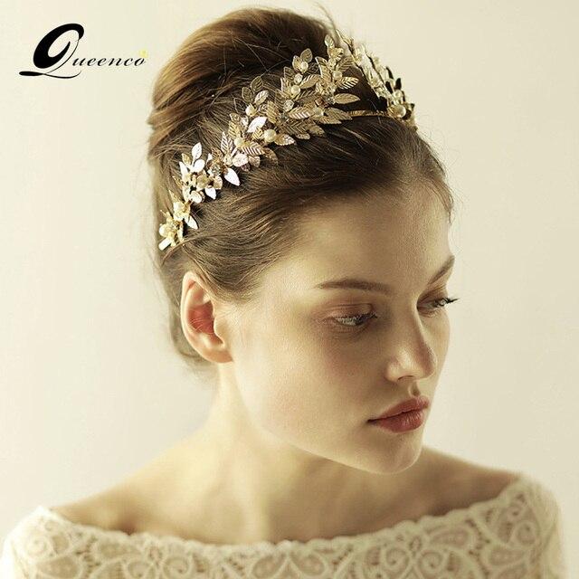 Gold Tiara Bridal Hair Accessories Crown Handmade Pearls Wedding Jewelry Party Pom Diadem Veil