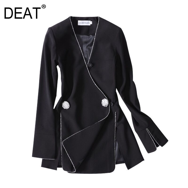 DEAT 2019 new V neck flare lseeves two buttons slim high fashion women single suit OL