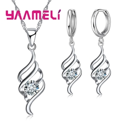YAAMELI Jewelry Sets For Women Charms Pendant Necklace Hoop Earring Fashion Classic Collares 925 Sterling Silver Wedding Gift