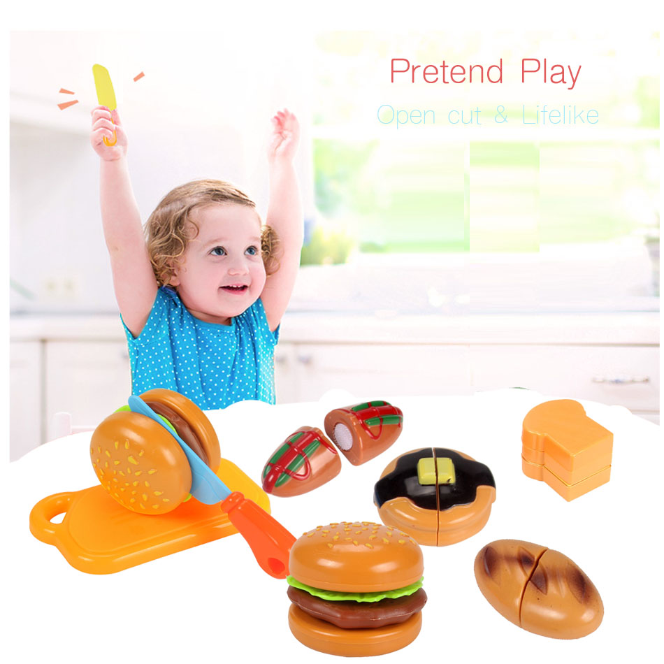 Pretend Play Precise Wooden Artificial Bread Vegetables Fruit Cut Children Play House Early Education Infant Cognitive Educational Toys