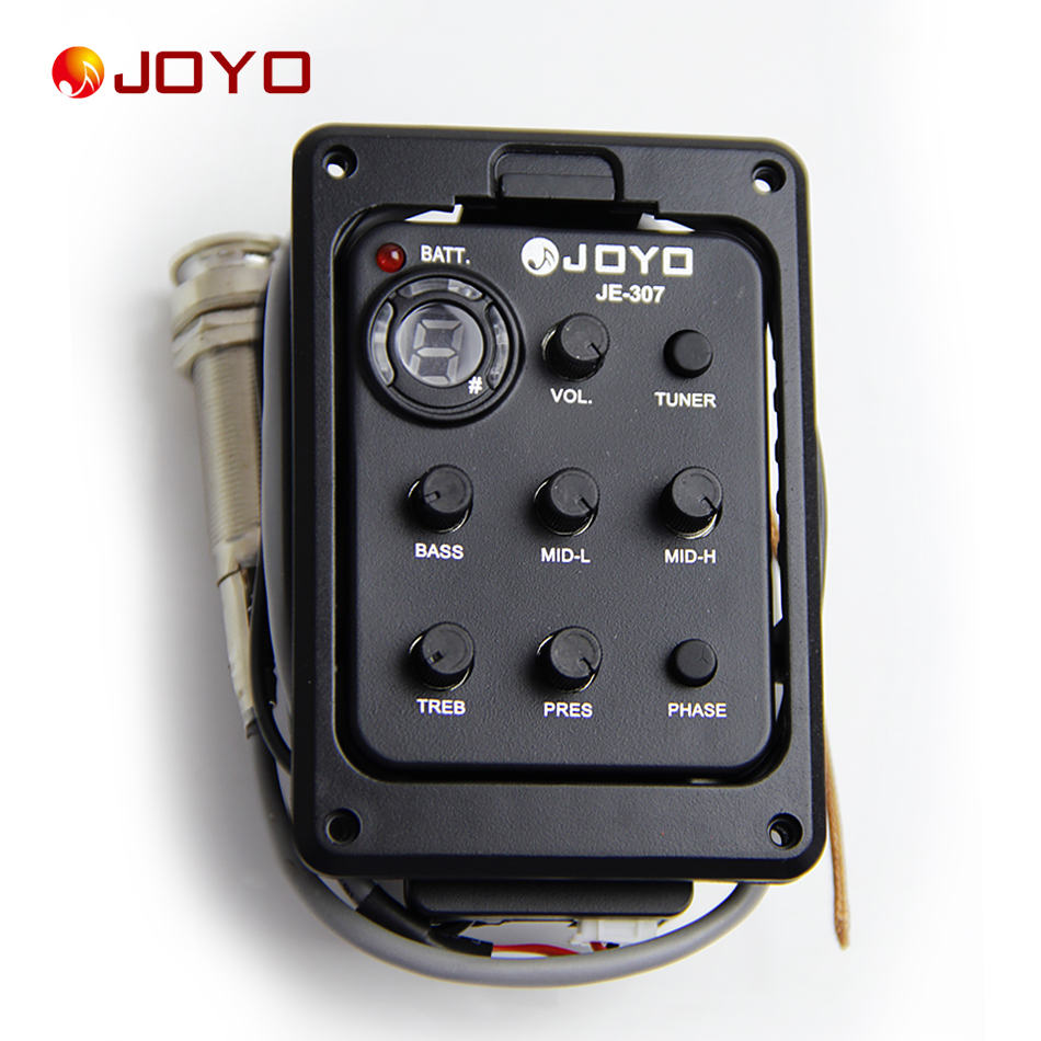 New Joyo Pickup  For Guitar JE-307 5 Band EQ with Tuner guitar accessories guitar pick holder joyo eq 307 folk guitarra 5 band eq acoutsic guitar equalizer high sensibility presence adjustable with phase effect and tuner