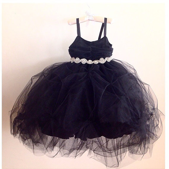 Puffy Tulle Ball Gown Bling Crystal rhinestones baby black dress girl birthday party dresses little princess prom evening outfitPuffy Tulle Ball Gown Bling Crystal rhinestones baby black dress girl birthday party dresses little princess prom evening outfit