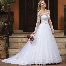 Sexy Off the Shoulder Wedding Dresses Tulle Appliques Long Sleeve Custom Made Puffy Bridal Gown Plus Size White Bride Dress