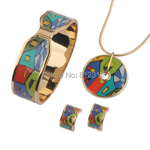 Angel Girl 18K gold plated fashion famous brand enamel jewelry sets  for women 2014(SET002)
