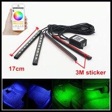 Fsylx 12 В Авто смартфон приложение Управление RGB горки светодиодные интерьера для ног полосы света RGB LED атмосфера DRL свет полоски