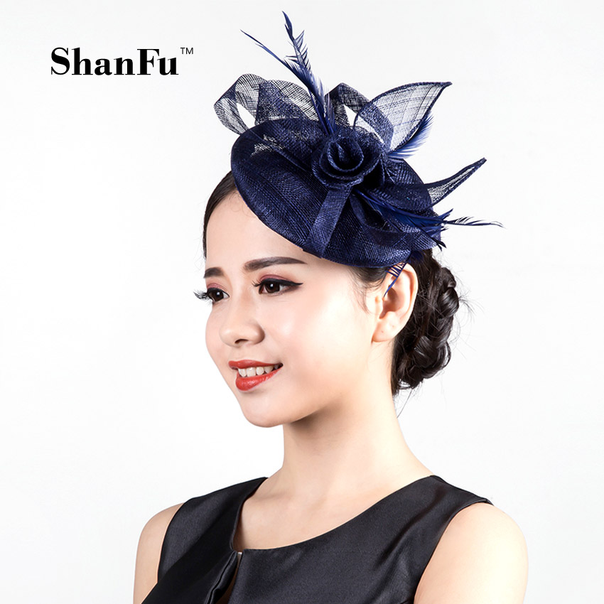 ShanFu Sinamay Fascinator Hat Linen chassis Hat with wedding party Cocktail Hat  SFC12560 free shipping high quality 2015 mini disc flower sinamay fascinator with feather for race