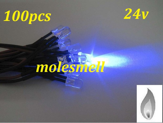 Free Shipping 100pcs 5mm Blue Flicker 24V Pre-Wired Water Clear LED Leds Candle Light 20CM 5mm 24v Candle Blue Led