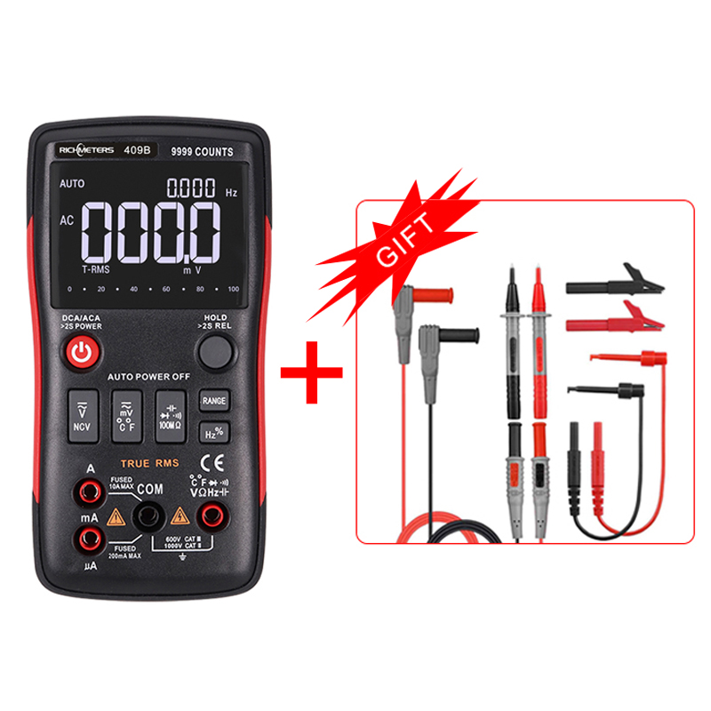 RICHMETRS RM409B Digital Multimeter Button 9999 Counts With Analog Bar Graph AC DC Voltage Ammeter Current