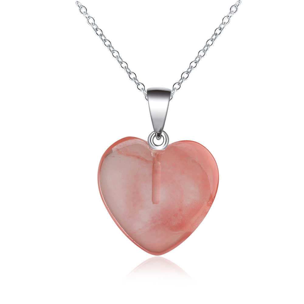 Genenic อัญมณีธรรมชาติหิน Heart Drop จี้หินคริสตัลคริสตัล Healing Chakra หินสร้อยคอ Chokers Healing Reiki อัญมณี