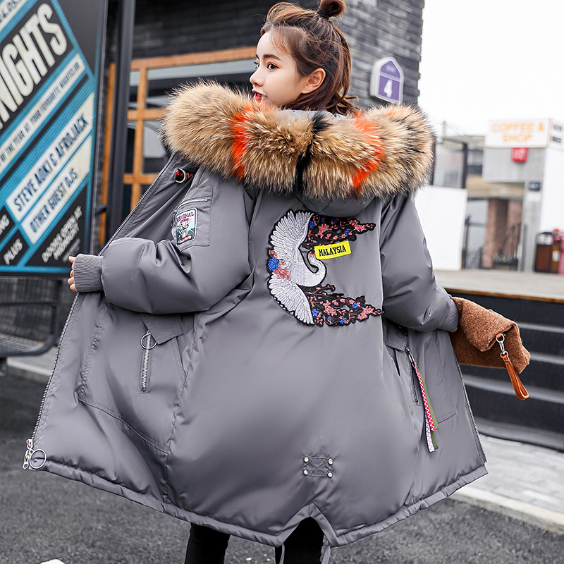 Winter Maternity Women Down Jacket Thick Fur Collar Hooded Down Jacket Coat Fashion Loose Maternity Coat Plus Size Women Outwear