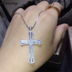 Image 1 - choucong Statement Cross Pendant AAAAA Cz Stone 925 Sterling silver Cross Pendant Necklace for Women Men Party Wedding jewelry