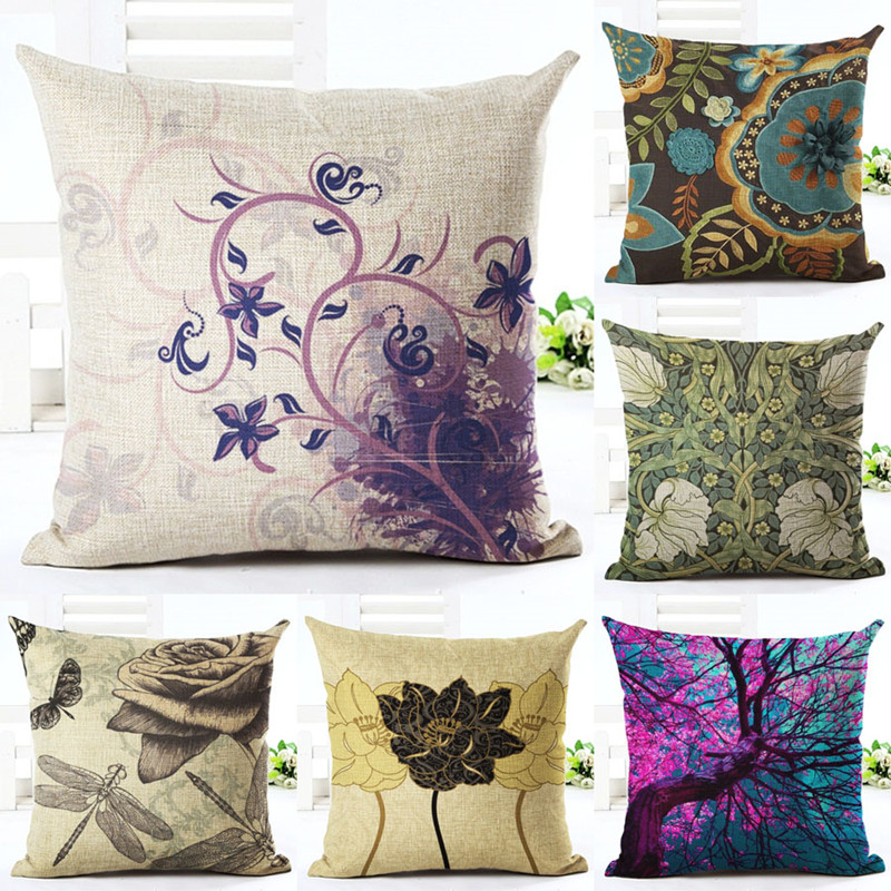 Cushion Cover Vintage Pillow Case Chinese Rose Nordic Cushion Car Covers Rose Classical Flowers ...